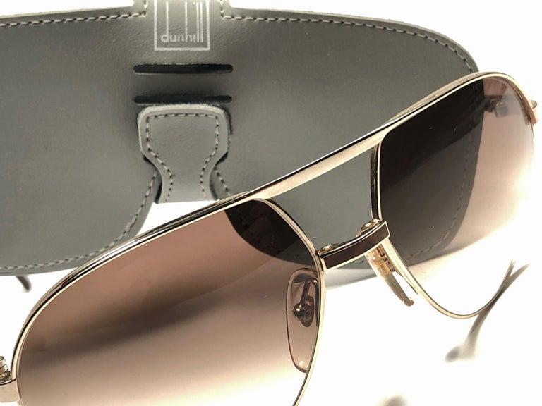 New Vintage Dunhill 6042 Laque Details Frame Aviator Sunglasses France  For Sale 3