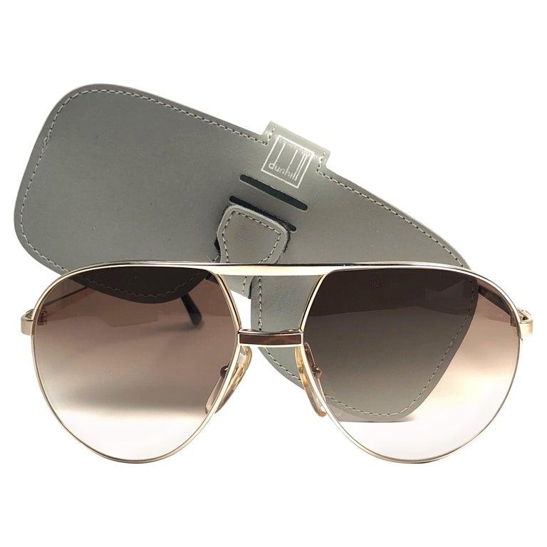 New Vintage Dunhill 6042 Laque Details Frame Aviator Sunglasses France  For Sale