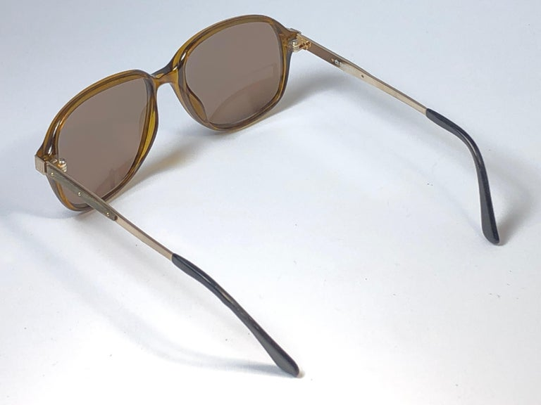 Beige New Vintage Dunhill 6047 Real Wood Trims Lenses Sunglasses France  For Sale
