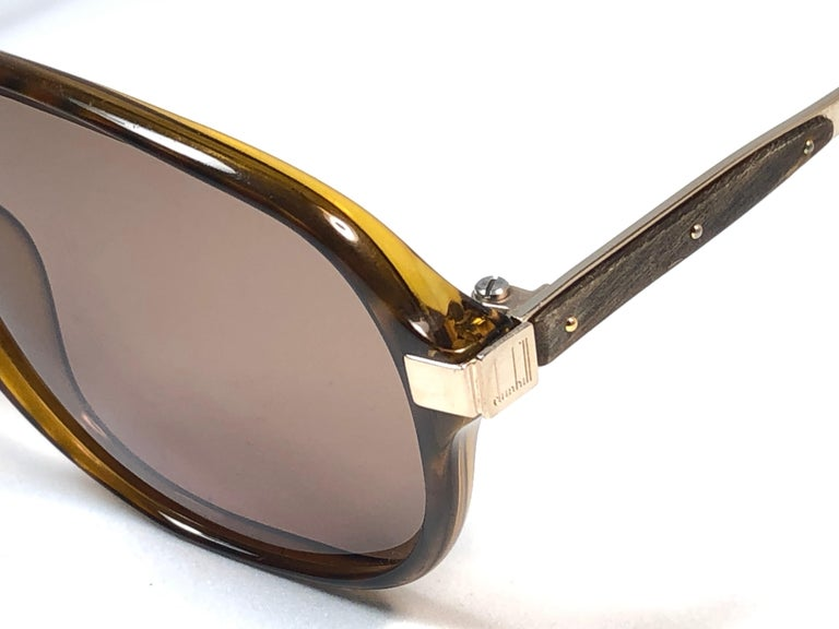 Women's or Men's New Vintage Dunhill 6047 Real Wood Trims Lenses Sunglasses France  For Sale