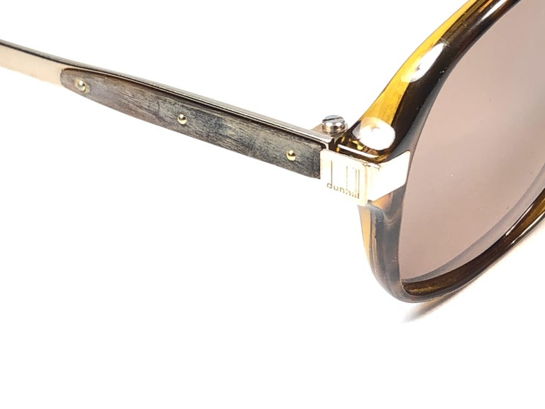 New Vintage Dunhill 6047 Real Wood Trims Lenses Sunglasses France  For Sale 1