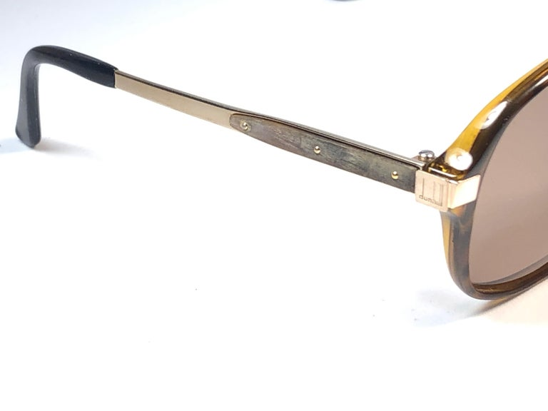 New Vintage Dunhill 6047 Real Wood Trims Lenses Sunglasses France  For Sale 2
