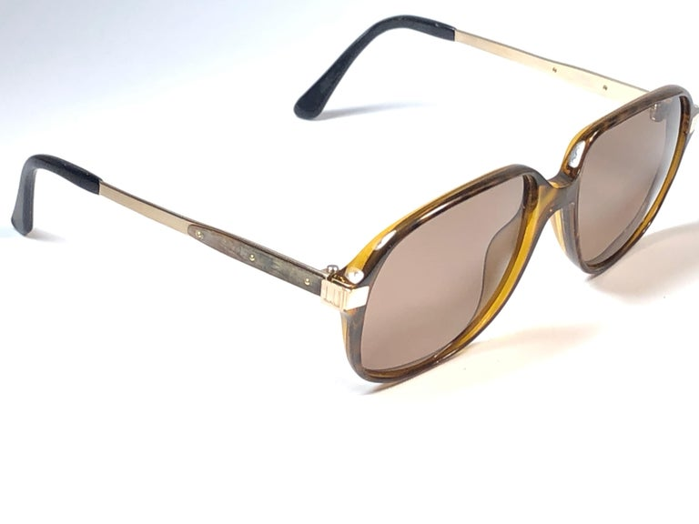 New Vintage Dunhill 6047 Real Wood Trims Lenses Sunglasses France  For Sale 3