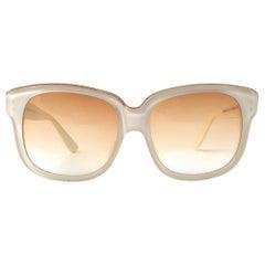 New Vintage Emanuelle Kahn Paris 8080 White Gold Accents Sunglasses France
