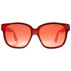New Vintage Emmanuelle Khahn Paris Oversized Red Sunglasses France