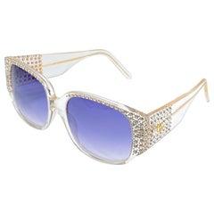 New Vintage Emmanuelle Khahn Paris Rhinestones Accents Sunglasses France