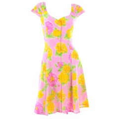New Vintage Escada Margaretha Ley Pink & Yellow Floral Silk Dress With Tags