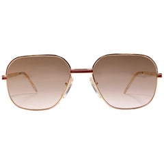 New Vintage Essilor Gold Brown Gradient Lenses France 1970's Sunglasses