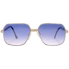 New Vintage Essilor Silver & Gold Blue Lenses France 1970's Sunglasses