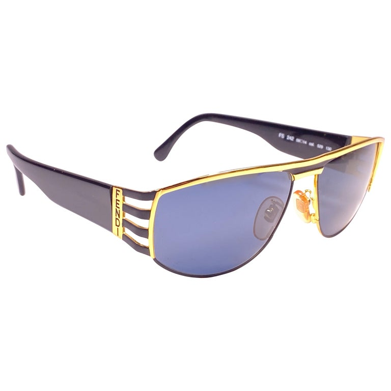 New Vintage Fendi FS242 Mask Black & Gold Large 1990 Sunglasses Made in Italy For Sale