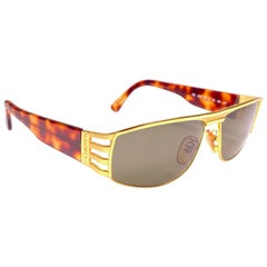 New Vintage Fendi FS243 Tortoise & Gold Large 1990 Sunglasses Made in Italy