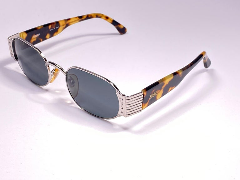 Women's or Men's New Vintage Fendi FS253 Tortoise & Silver Large 1990 Sunglasses Made in Italy For Sale