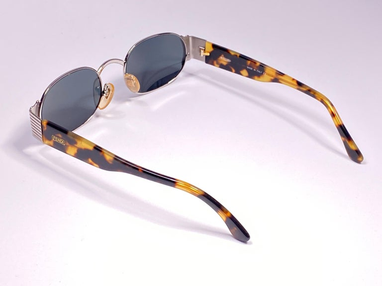 New Vintage Fendi FS253 Tortoise & Silver Large 1990 Sunglasses Made in Italy For Sale 2