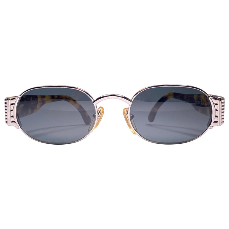 New Vintage Fendi FS253 Tortoise & Silver Large 1990 Sunglasses Made in Italy For Sale