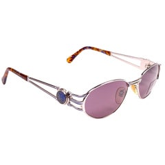 New Vintage Fendi FS7036 Oval Silver Tortoise 1990 Sunglasses Made in Italy