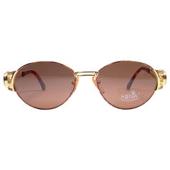 New Vintage Fendi FS7037 Oval Tortoise Gold  1990 Sunglasses Made in Italy