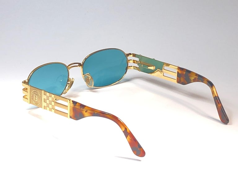 New Vintage Fendi  Gold SL 7028 Tortoise Mosaic 1990 Sunglasses Made in Italy For Sale 5