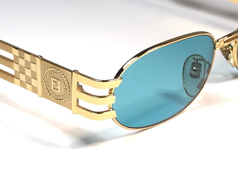 Women's or Men's New Vintage Fendi  Gold SL 7028 Tortoise Mosaic 1990 Sunglasses Made in Italy For Sale