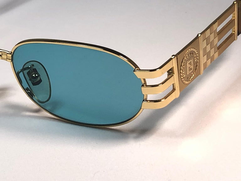 New Vintage Fendi  Gold SL 7028 Tortoise Mosaic 1990 Sunglasses Made in Italy For Sale 1