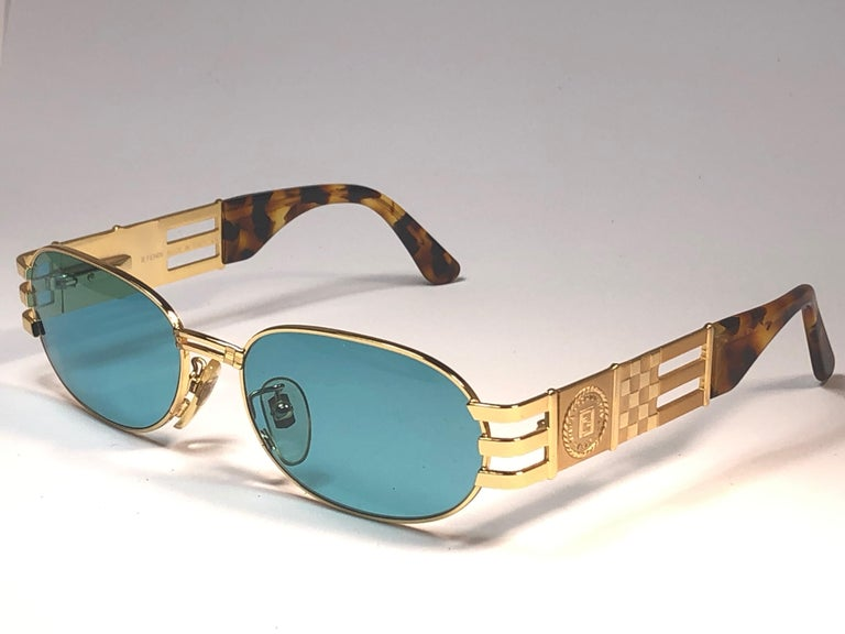 New Vintage Fendi  Gold SL 7028 Tortoise Mosaic 1990 Sunglasses Made in Italy For Sale 2