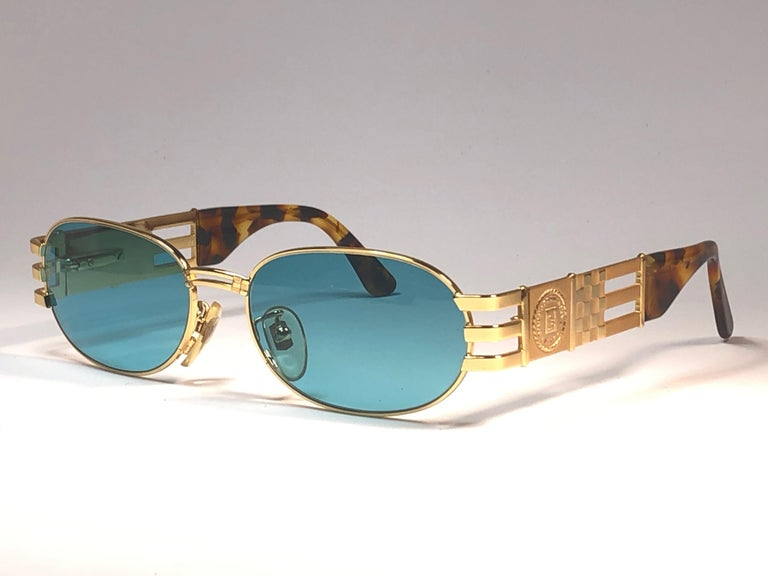 New Vintage Fendi  Gold SL 7028 Tortoise Mosaic 1990 Sunglasses Made in Italy For Sale 3