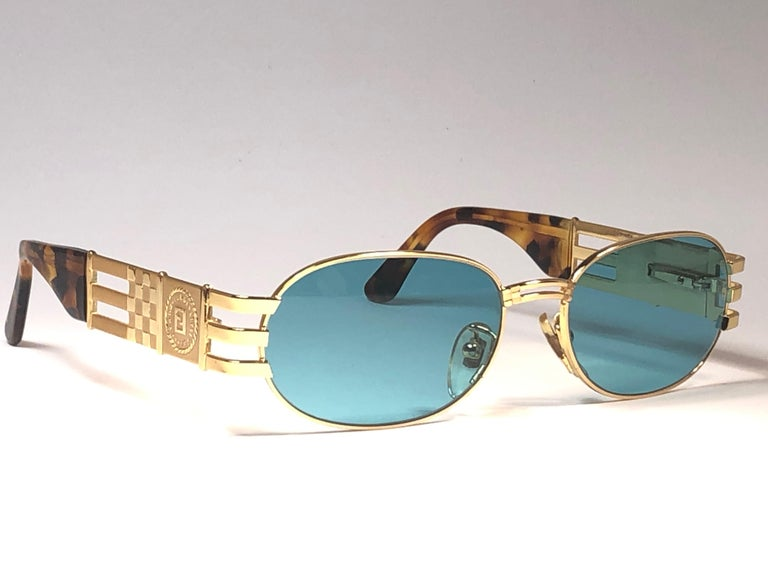 New Vintage Fendi  Gold SL 7028 Tortoise Mosaic 1990 Sunglasses Made in Italy For Sale 4