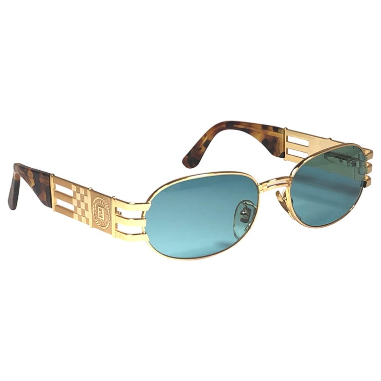 New Vintage Fendi  Gold SL 7028 Tortoise Mosaic 1990 Sunglasses Made in Italy For Sale