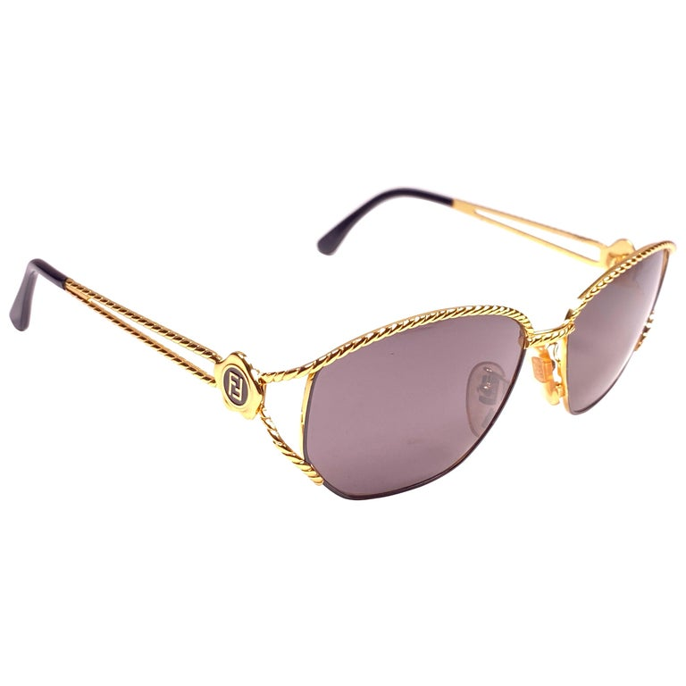New Vintage Fendi SL7023 Gold & Black Large  1990 Sunglasses Made in Italy For Sale