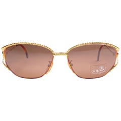 New Vintage Fendi SL7023 Tortoise & Gold Large  1990 Sunglasses Made in Italy