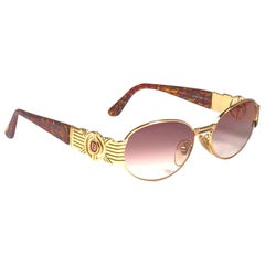 New Vintage Fendi Sl7034 Gold  Mosaic 1990 Sunglasses Made in Italy