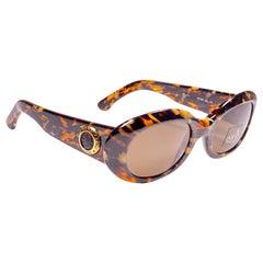 New Vintage Fendi SL7503 Oval Sleek Tortoise 1990 Sunglasses