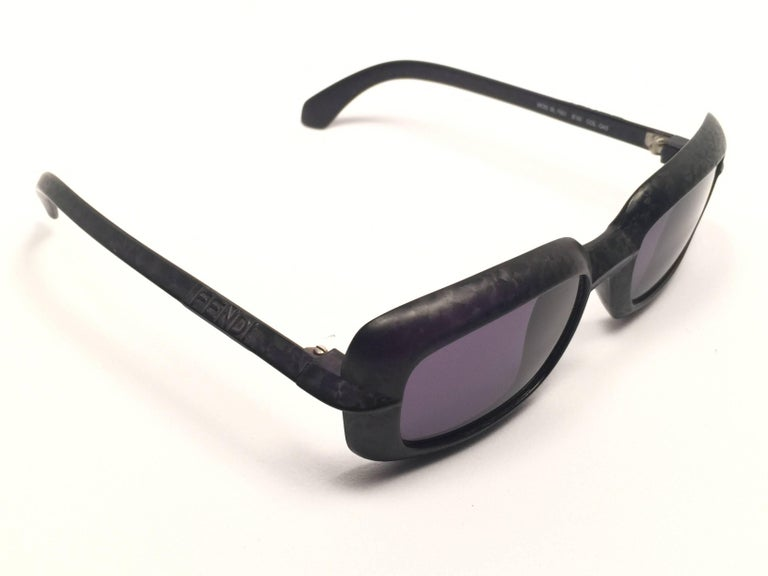 New Fendi textured square black matte frame with grey G15 ( UV protection ) lenses.  Made in Italy.   Produced and design in 1990's.  New, never worn or displayed.