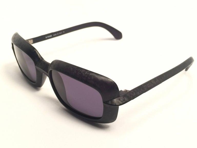 New Vintage Fendi SL7551 Square Black Matte 1990 Sunglasses In New Condition For Sale In Amsterdam, Noord Holland