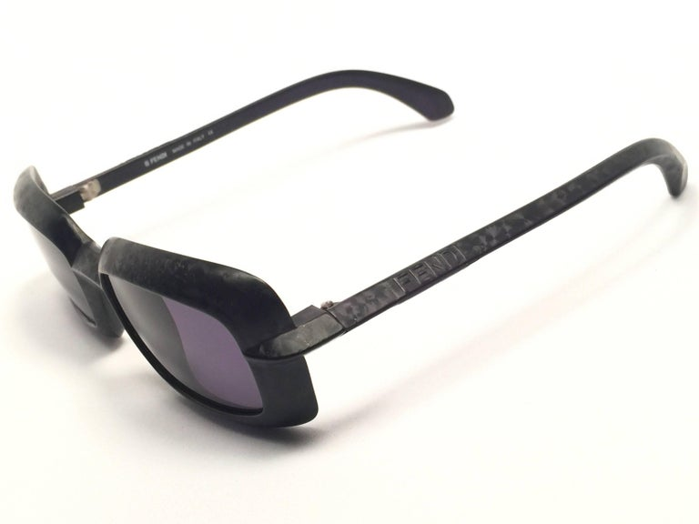 New Vintage Fendi SL7551 Square Black Matte 1990 Sunglasses For Sale 1