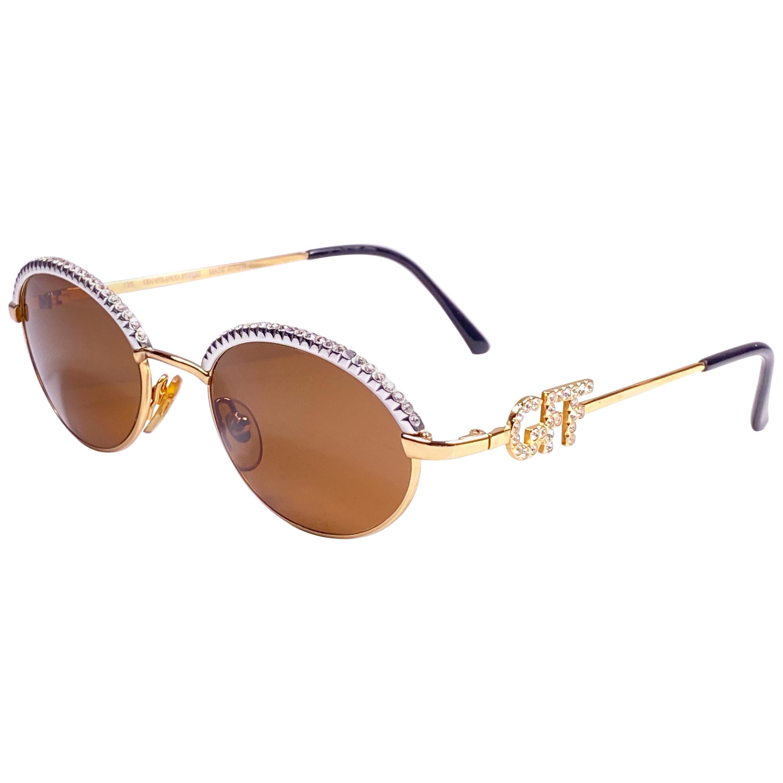 New Vintage Gianfranco Ferre 305 Oval Rhinestones 1990 Italy Sunglasses