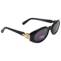New Vintage Gianfranco Ferré 380 Black & Strass 1990  Made in Italy Sunglasses
