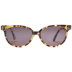 New Vintage Gianfranco Ferré GFF 106 Gold / Light Tortoise 1990 Italy Sunglasses