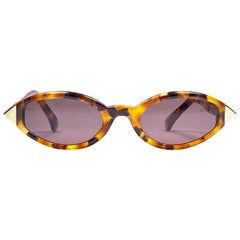 New Vintage Gianfranco Ferré GFF 180 Gold / Light Cat Eye 1990 Italy Sunglasses