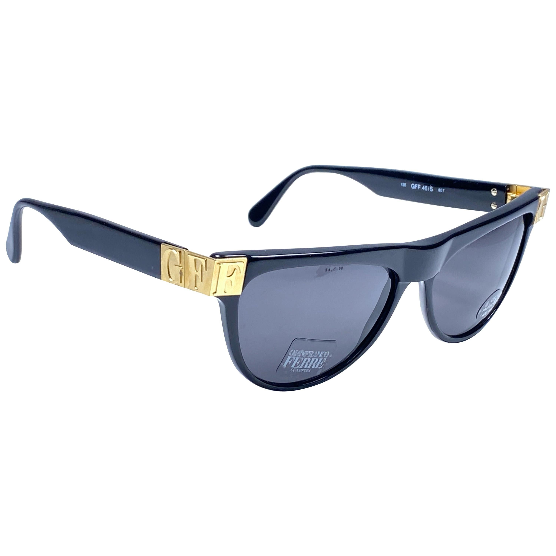 New Vintage Gianfranco Ferré GFF 46S Gold / Black 1990  Italy Sunglasses