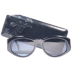 New Vintage Gianni Versace T24 C Sleek Black Sunglasses 1990's Made in Italy