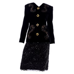 New Vintage Givenchy Couture Black Velvet Sequins & Lace Evening Suit w Tags