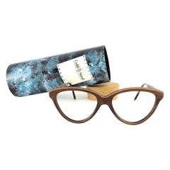 New Vintage Gold & Wood Cat Eye 606003 Genuine RX Glasses 1980's France