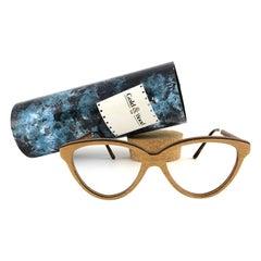 New Vintage Gold & Wood Cat Eye 606006 Genuine RX Glasses 1980's France