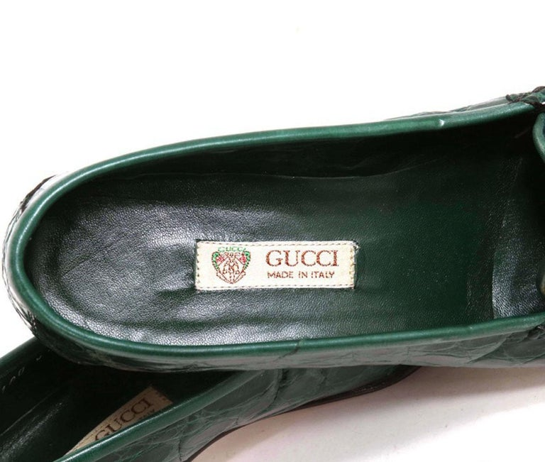 New Vintage Gucci Emerald Green Crocodile Women's Loafers 36.5 B - US 6.5 For Sale 2