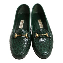 New Vintage Gucci Emerald Green Crocodile Women's Loafers 36.5 B - US 6.5