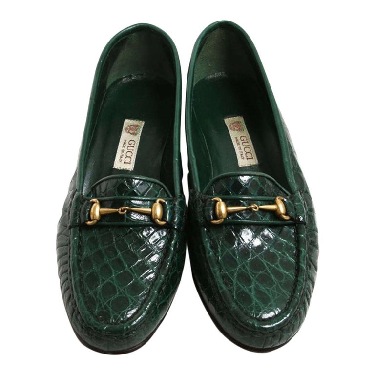 New Vintage Gucci Emerald Green Crocodile Women's Loafers 36.5 B - US 6.5 For Sale