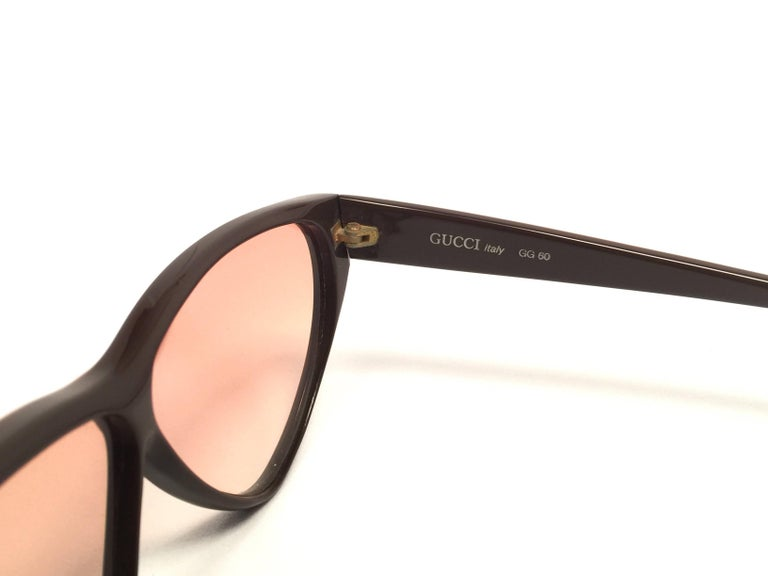 b68503958f New Vintage Gucci GG Brown   Amber Sunglasses 1980 s Made in Italy For Sale  2