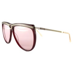 New Vintage Gucci Gold & Burgundy Accents Sunglasses 1990's Made in Italy