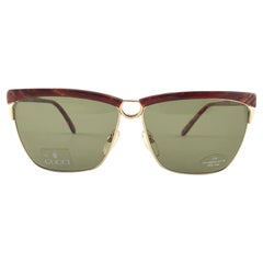 New Vintage Gucci Gold & Marbled 2301/S Accents Sunglasses 1990's Made in Italy