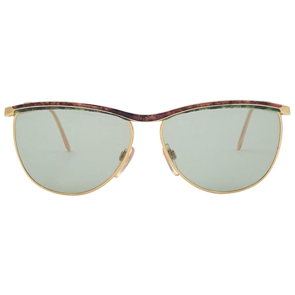 New Vintage Gucci Gold & Marbled Accents Sunglasses 1990's Made in Italy
